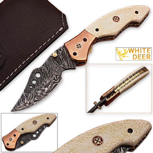 WHITE DEER Executive Series Tactical Damascus Folding Knife