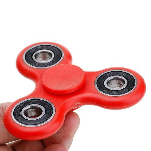 Tri-Spinner Fidget Toy Ceramic EDC Hand Finger Spinner Desk Focus RED