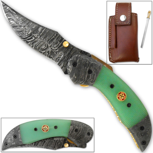 Trailmaster Clippoint Damascus Folding Knife