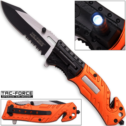 TAC Force EMT Hi-Vis Rescue Flashlight Pocket Knife