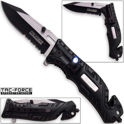TAC Force Sheriff Rescue Flashlight Pocket Knife