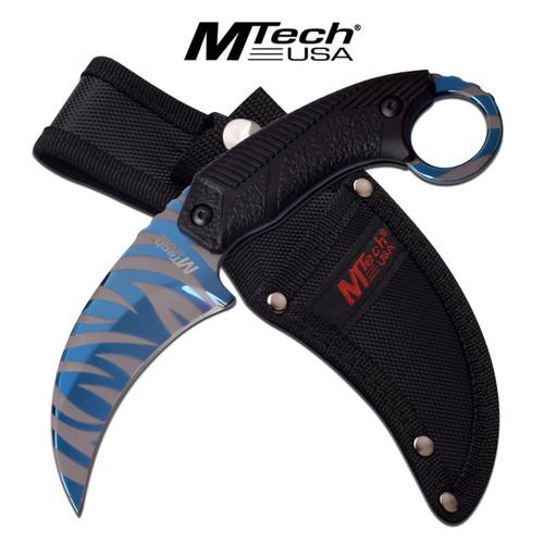 MTech USA Blue Line Tiger Stripes Karambit Survival Knife