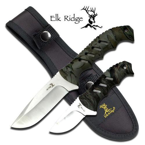 Elk Ridge 2-Pc. Camo Fixed-Blade Hunting Skinning Knife Set