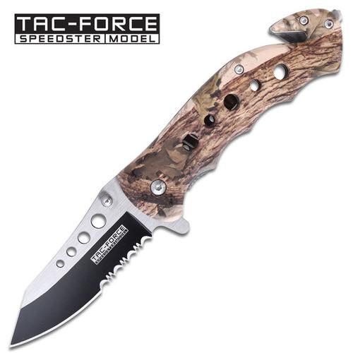 Tac-force High Def Woodland Camo Rescue Folding Pocket Knife