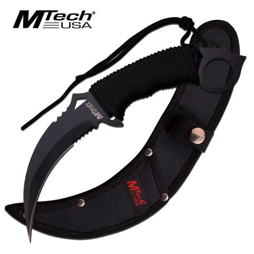 MTech FIXED-BLADE TACTICAL KNIFE | Black Blade Paracord Serrated Combat Karambit