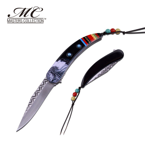 MC MASTERS COLLECTION American Indian Styled Spring Assisted Knife