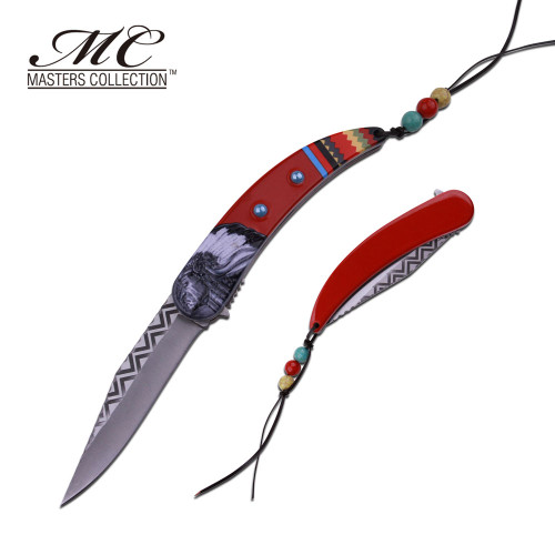 MC MASTERS COLLECTION American Indian Styled Red Spring Assisted Knife