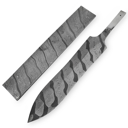 White Deer Damascus Steel TIGER STRIPE Pattern Billet