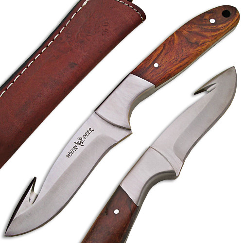 WHITE DEER J2 Steel Hunters Guthook Skinner Knife