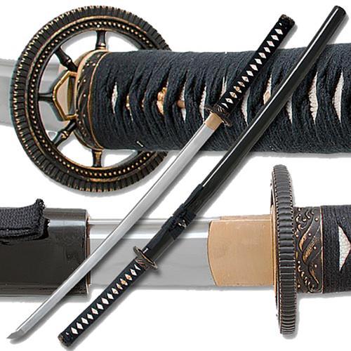 Clay Tempered Katana 1060 Carbon Steel Buddhist Sacred Wheel Sword RfB