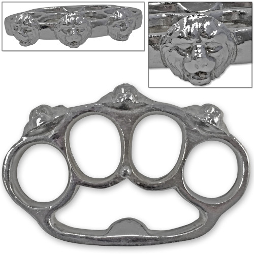 Ultimate Strength Metal Lion Belt Buckle Knuckle Chrome Finished Paper Weight