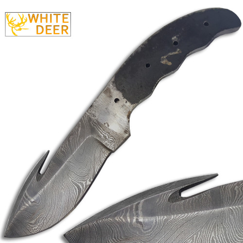White Deer Gut Hook Damascus Skinner 7.25in Knife Blank Blade