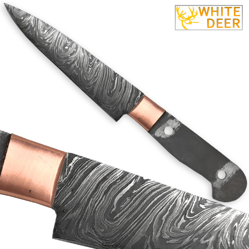 WHITE DEER Damascus Steel Knife Blank 9.375in Paring Chef Blade