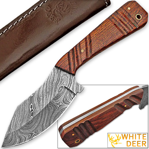 WHITE DEER SPEY BLADE Damascus Steel Hunting Skinner Knife
