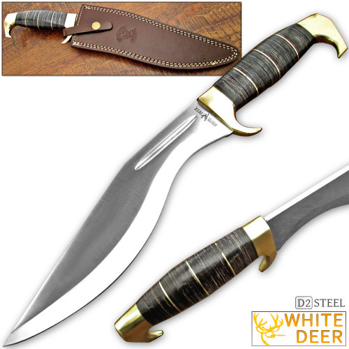 WHITE DEER D2 STEEL Extreme Duty Jungle Kukri Knife