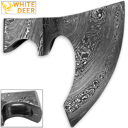 WHITE DEER Blank Axe Head Bit Damascus Steel Viking Hatchet