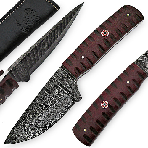 White Deer Custom Grooved Damascus Steel Knife