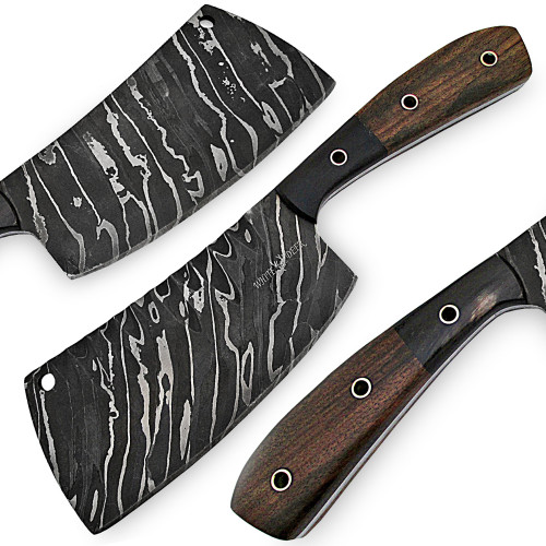 White Deer Grooved Damascus Steel Butchers Cleaver Knife