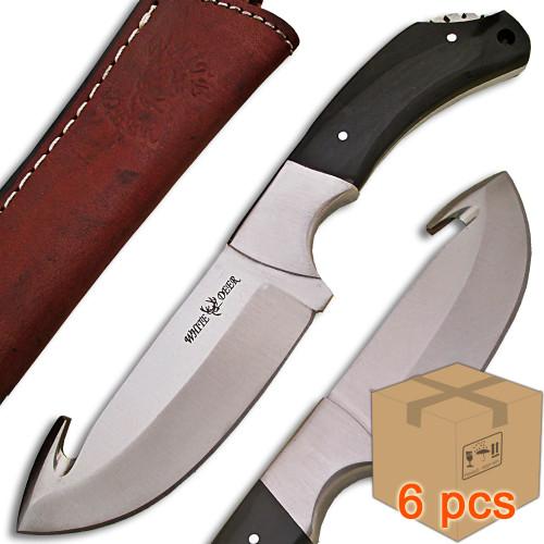 Case of 6pcs WHITE DEER Guthook Ranger Series J2 Steel Skinner Knife Buffalo Horn Grip
