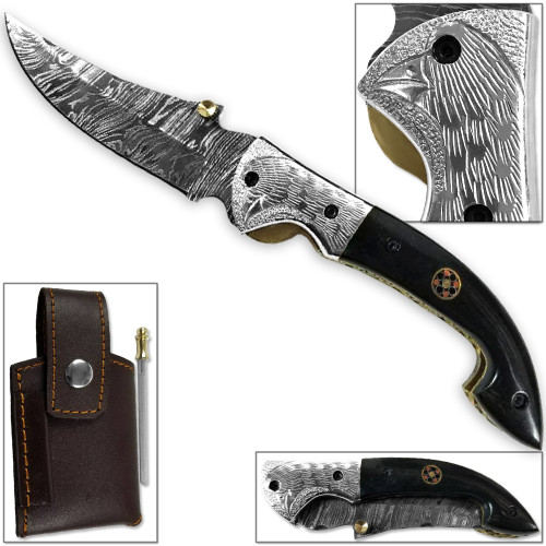 WHITE DEER Bird of Prey Damascus Folding Knife