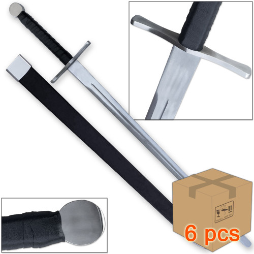 Case of 6pcs Knightly Medieval Crossguard Longsword
