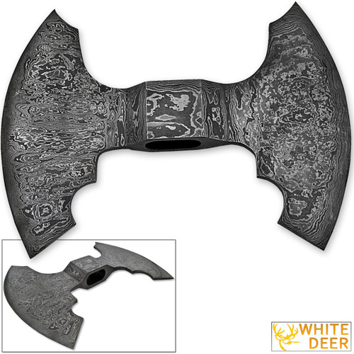 WHITE DEER Vikings Double Edged Battle Axe Head Blank Damascus Steel Hatchet