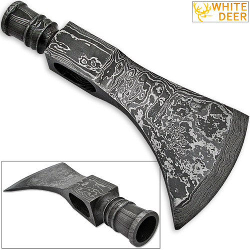 WHITE DEER Thumper Damascus Hammer Axe Head Blank