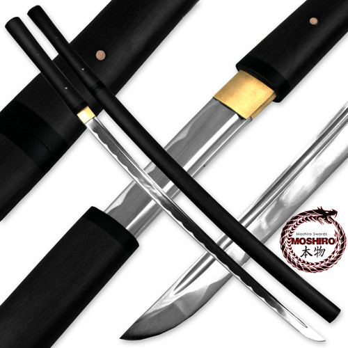 MOSHIRO Shirasaya Functional Katana Bushido Ebony Sword