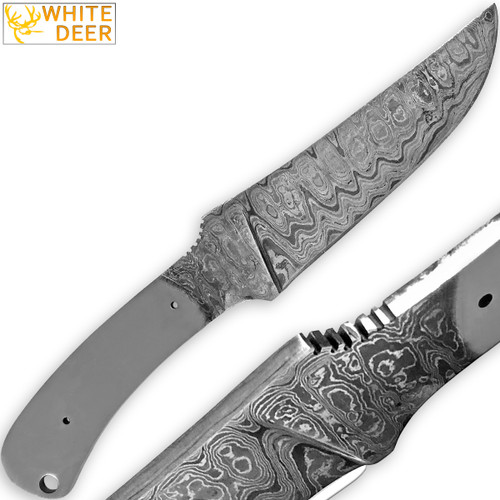 White Deer Damascus Blank Knife Full Tang Rain Drop Pattern