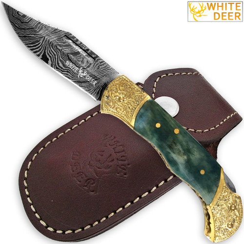 WHITE DEER Lockback Damascus Folding Knife Giraffe Bone Handle