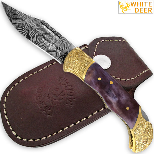 WHITE DEER Lockback Damascus Folding Knife Purple Giraffe Bone