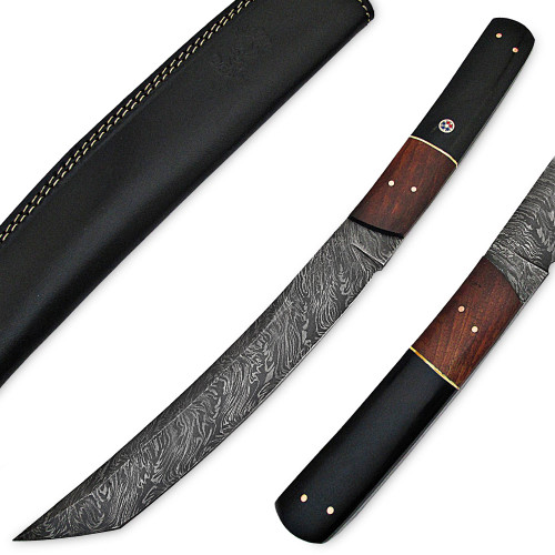 White Deer Japanese Tanto Damascus Knife Buffalo Horn  Wal Nut Wood Handle