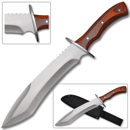 Full Tang Alamo. James Bowie Knife Wood Handle