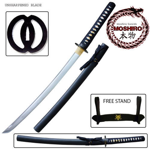 Wakizashi MOSHIRO High Carbon Steel Unsharpened Iaito