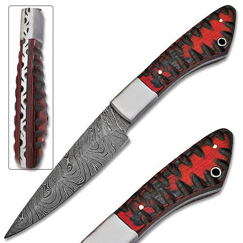 Loneman Man Damascus 1095 HC Steel Blade Knife W/Pakka Wood Handle
