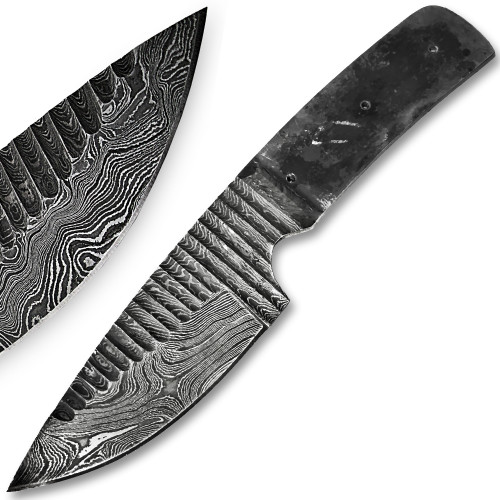 Blank Blade Grooved Damascus Steel Knife Full Tang 1095HC Make your Own Handle