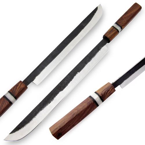 """WHITE DEER Japanese Shape Long 17.7"""" Forging Hammer TANTO Chef Knife"""