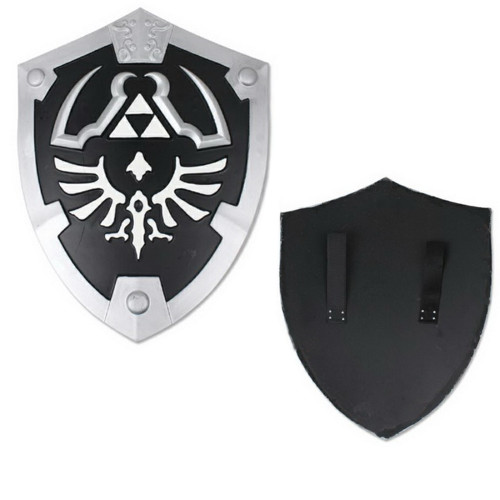 Black Dark Master Legend of Zelda Foam Shield w/ Strap Link Hylian LARP  Battle ready