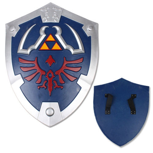Deluxe Zelda Master Legend Blue Foam Shield w/ Strap Link Hylian LARP Battle ready