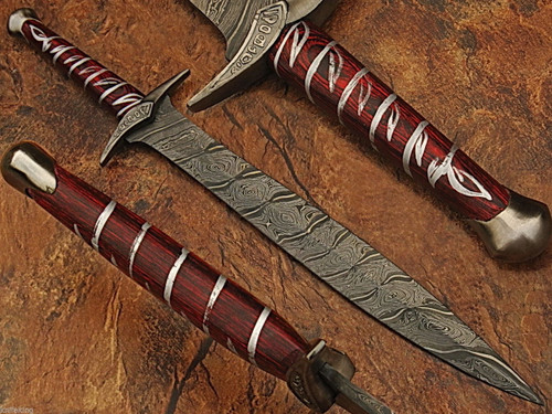 Custom Made Damascus Steel Fantasy Sword Hand Made