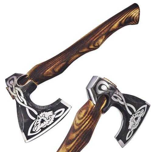 Hand forged Scandinavian Woolf Head axe Wood Handle Hatchet