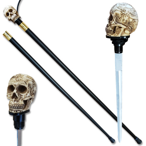 Walking Skull/Devil Head Cane Sword Staff Mobility Stick Rubber Foot Handle