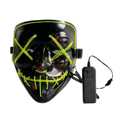 EL Wire Ghost Mask Slit Mouth Light Up Glowing LED Mask Halloween Cosplay Glowing Yellow