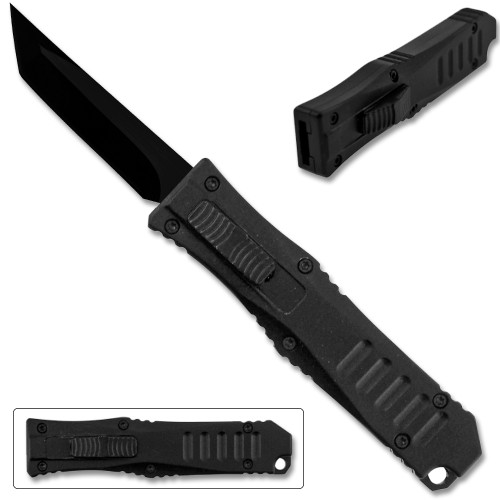 Legends Micro OTF Blade Knife Black Out The Front Tanto Blade