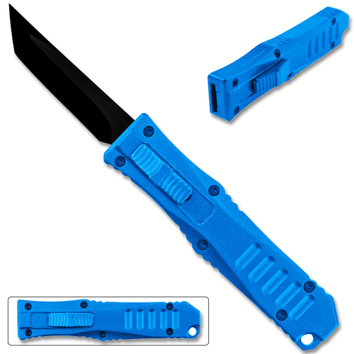 Legends Micro OTF Blade Knife Blue Out The Front Tanto Blade