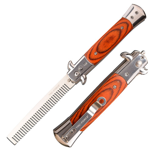 Auto Push Button Comb Switchblade Looking Knife Brown Handle