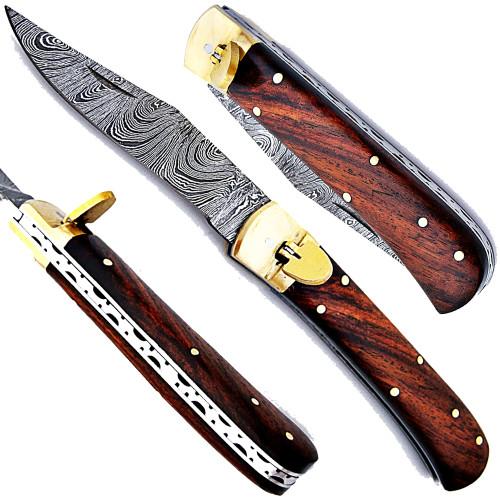Cocco Bolo Wood Handle Damascus  Lever Lock Auto Knife