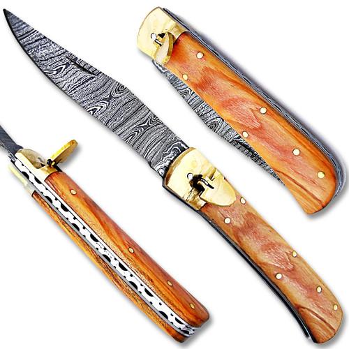 Olive Wood Handle Damascus  Lever Lock Auto Knife