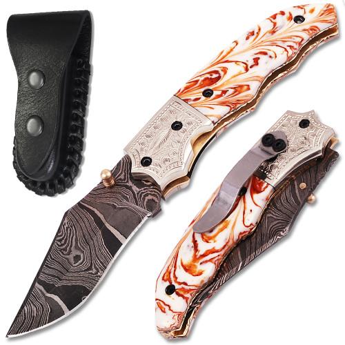 Executive Series Damascus Folder Knife White Copper Bolster Resin Handle