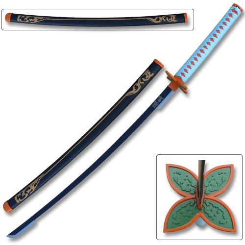 "Blazing S. 41"" Metal Fantasy Samurai Sword Replica Demon Slayer Shinobu Kocho"